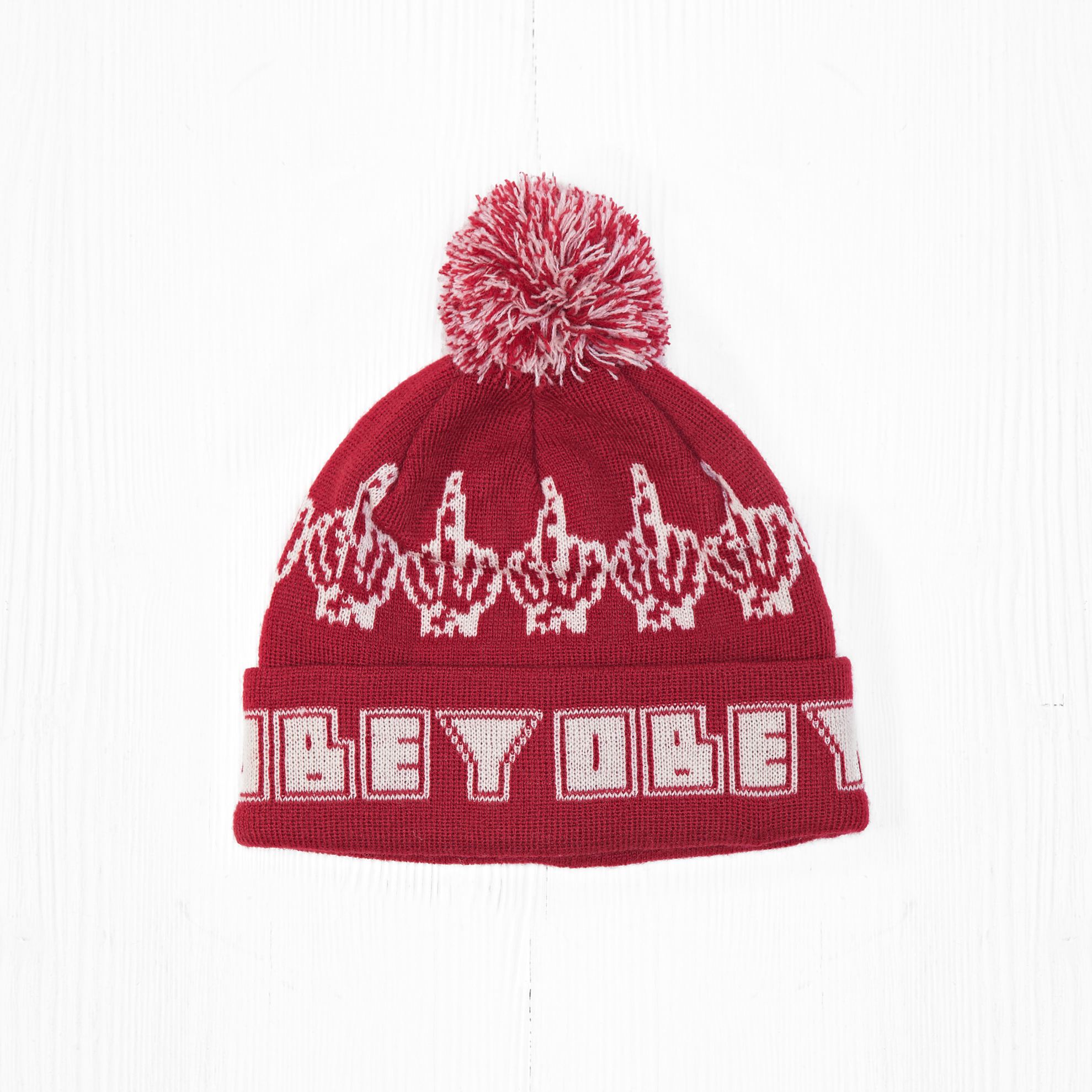 Шапка Obey BIRD POM POM Red