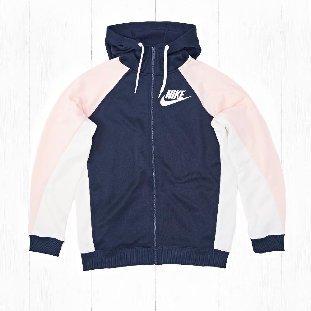 Толстовка Nike W NSW HOODIE FZ PK CB Obsidian/Orange Quartz/Sail