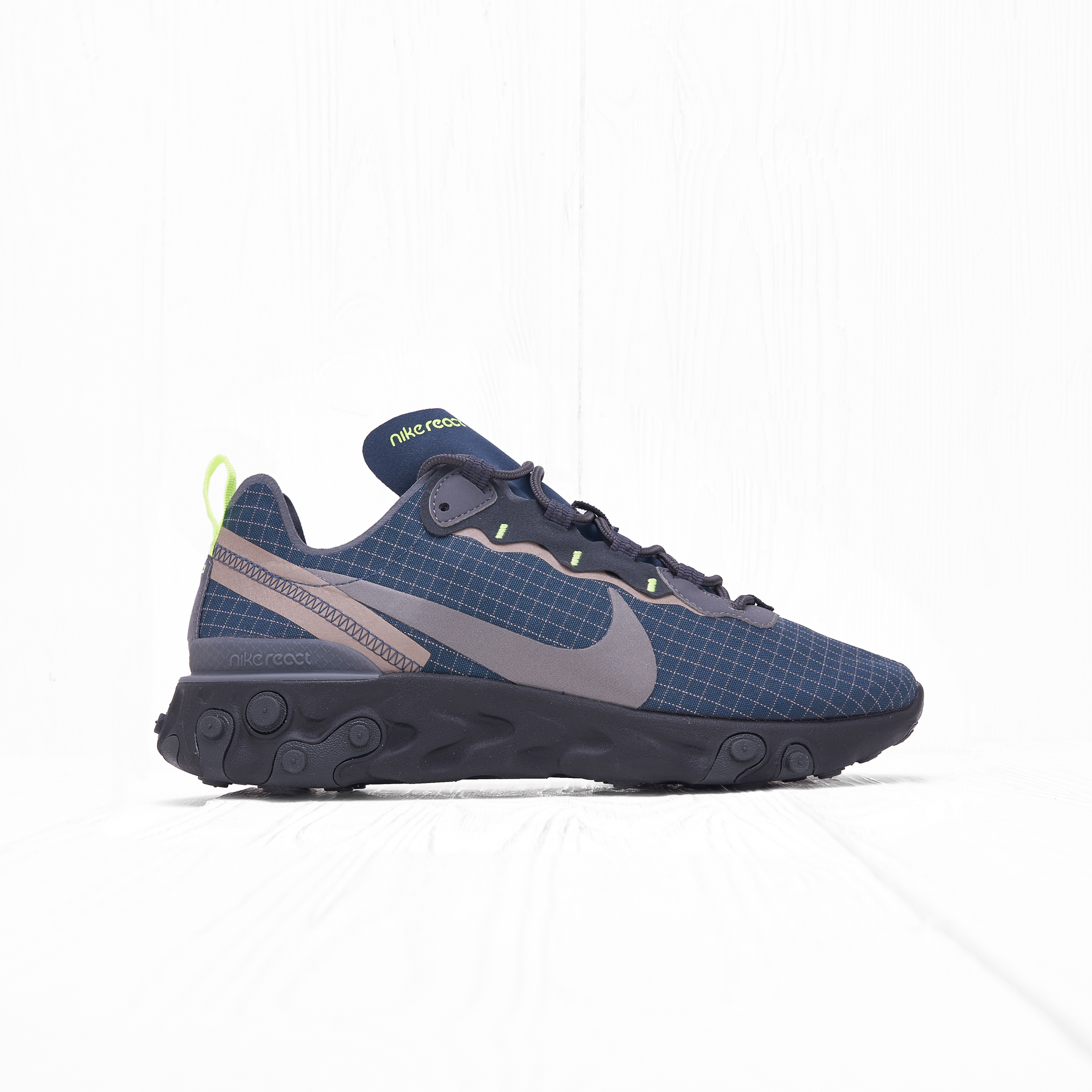 Кроссовки Nike REACT ELEMENT 55 Armory Navy/Metallic Dark Grey-Volt