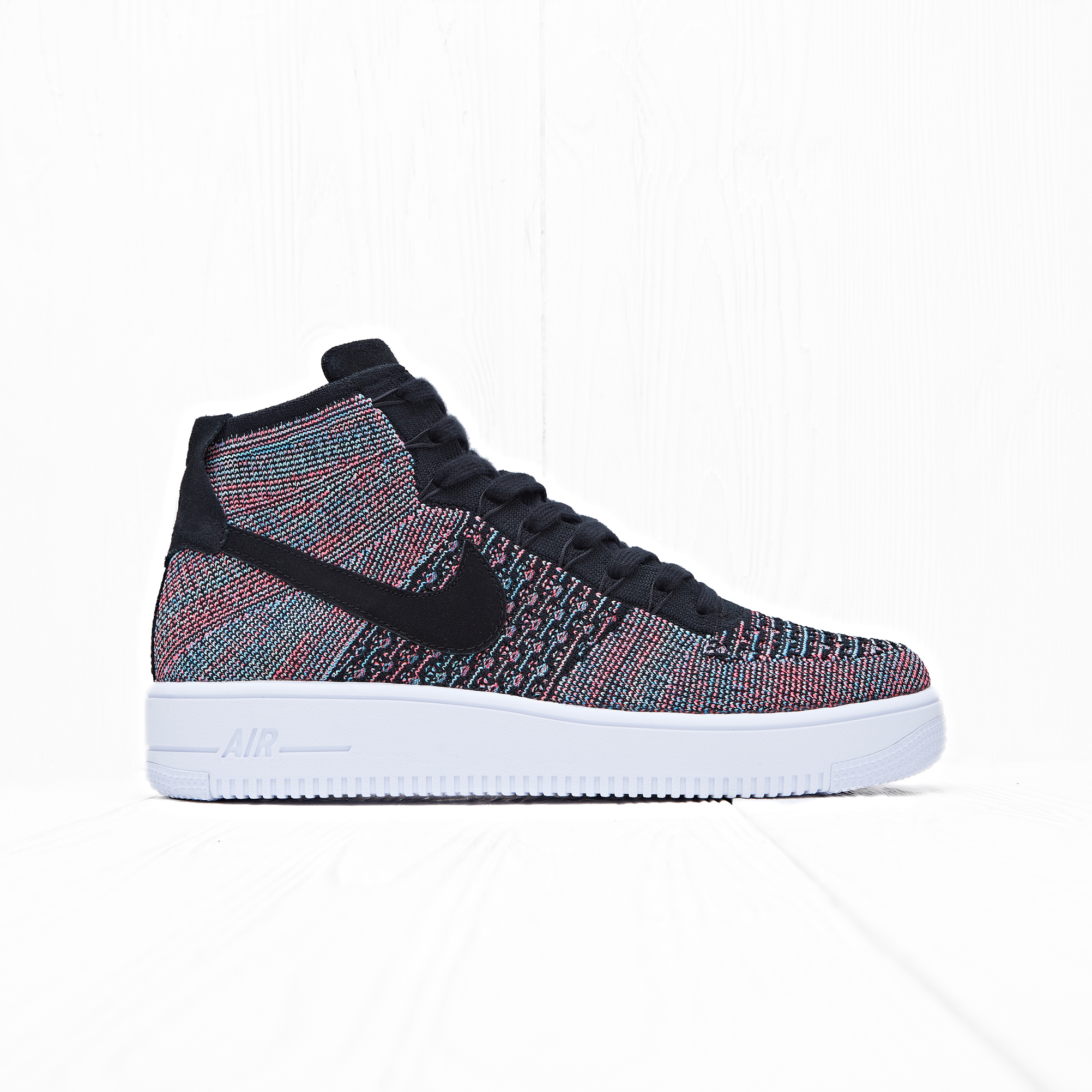 Кроссовки Nike AIR FORCE 1 ULTRA FLYKNIT MID Black/Pink-Blue