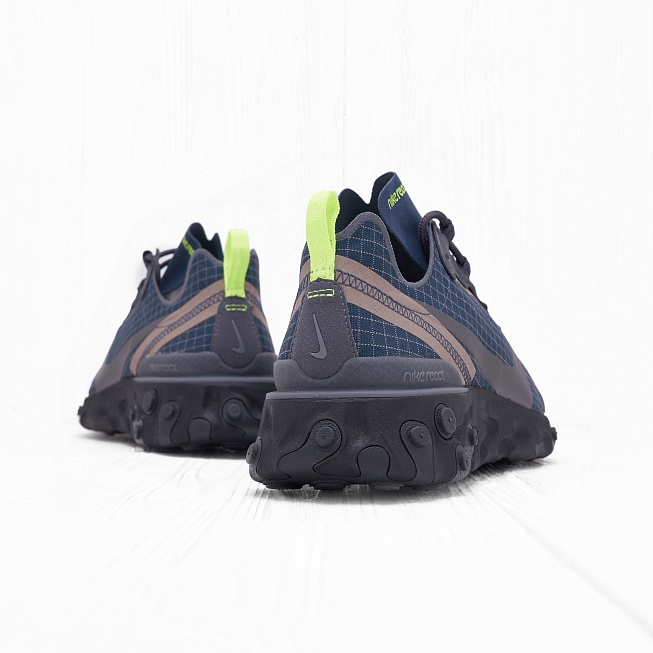 Кроссовки Nike REACT ELEMENT 55 Armory Navy/Metallic Dark Grey-Volt - Фото 2