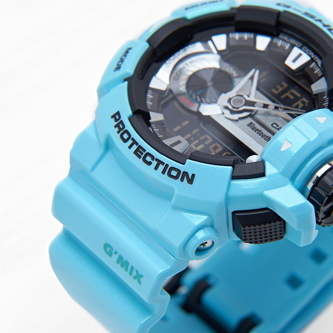 Часы Casio G-SHOCK BLUETOOTH (GBA-400-2C) Aqua Blue - Фото 1
