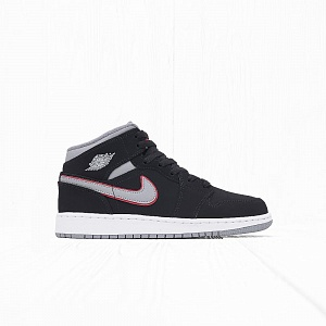 Кроссовки Jordan AIR JORDAN 1 MID (GS) Black/Particle Grey-Gym Red
