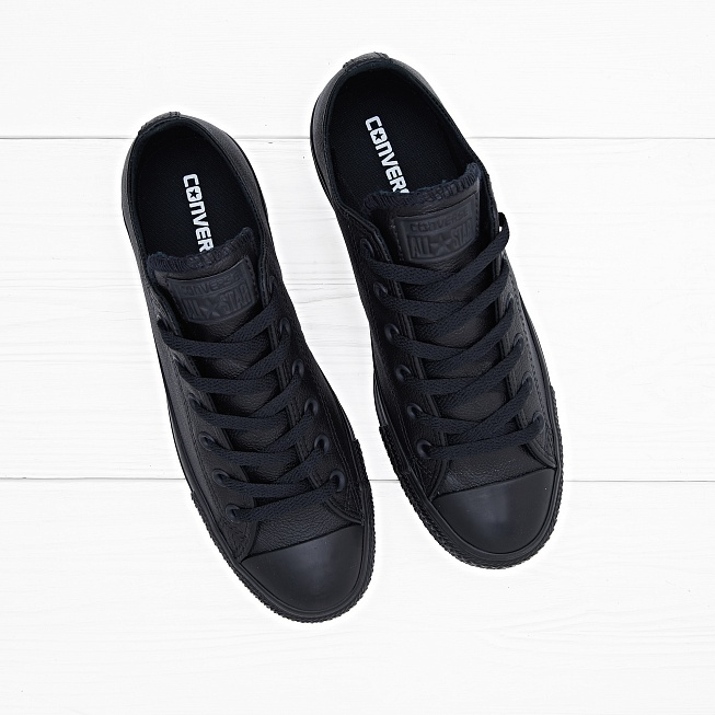 Кеды Converse CHUCK TAYLOR ALL STAR LOW Leather Black Monochrome - Фото 3