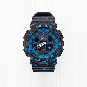 Часы Casio G-SHOCK x STASH (GA-100ST-2A) Black Blue Splatter