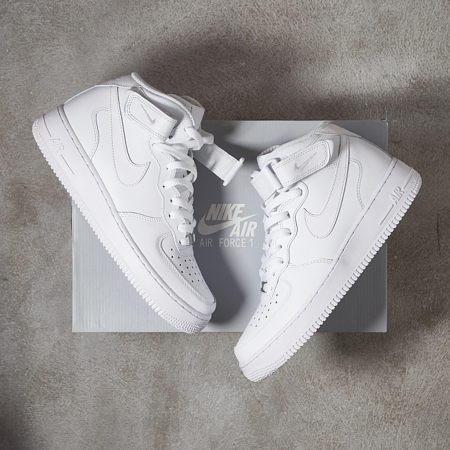 Кроссовки Nike AIR FORCE 1 MID 07 White/White - Фото 1