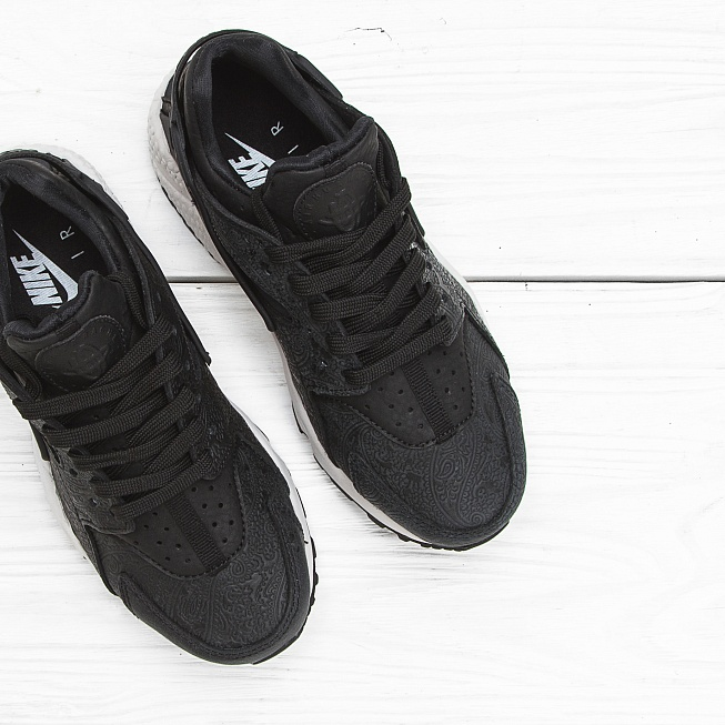 Кроссовки Nike W AIR HUARACHE RUN PRM Black/Black-White - Фото 2