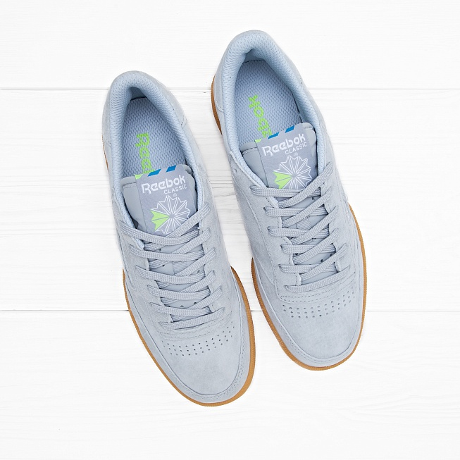 Кроссовки Reebok CLUB C 85 INDOOR Baseball Grey/Instinct Blue/White/Solar Green - Фото 3