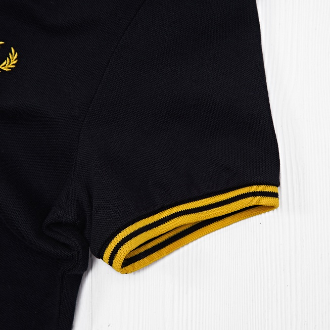Поло Fred Perry TWIN TIPPED Black/Yellow - Фото 4