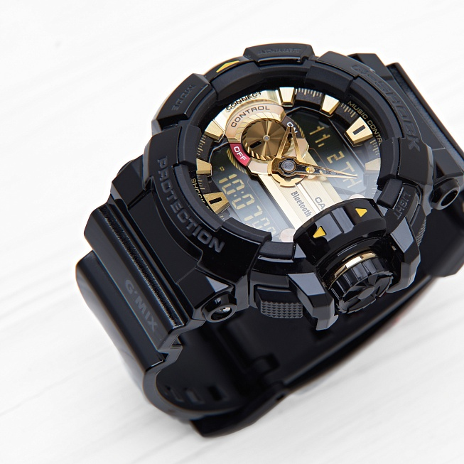 Часы Casio G-SHOCK BLUETOOTH (400-1A9) Black-Gold - Фото 1