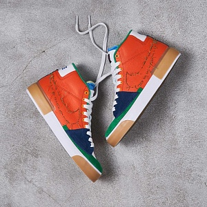Кроссовки Nike SB ZOOM BLAZER MID EDGE L Safety Orange/Lucky Green