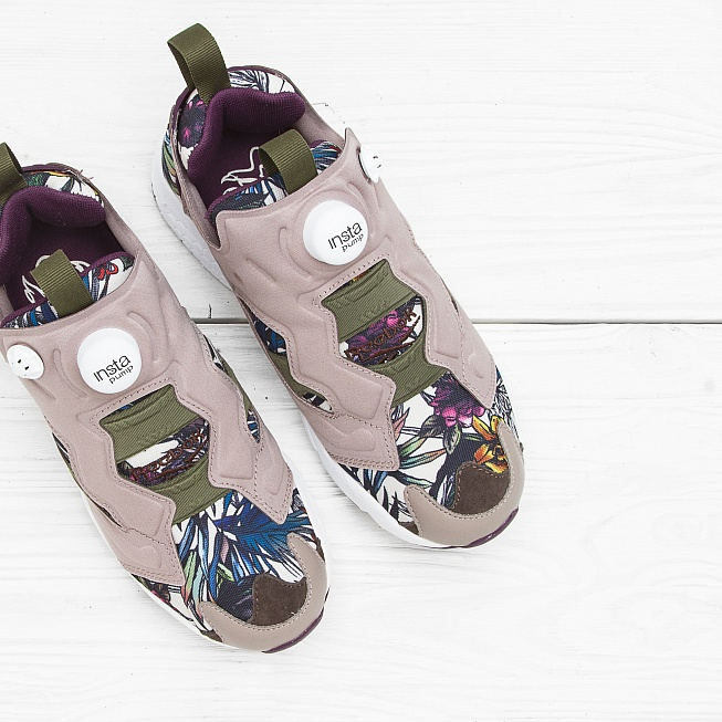 Кроссовки Reebok INSTA PUMP FURY SEASONAL GRAPHIC Beach Stone/Paper White/Green/Orchid/Stone - Фото 4