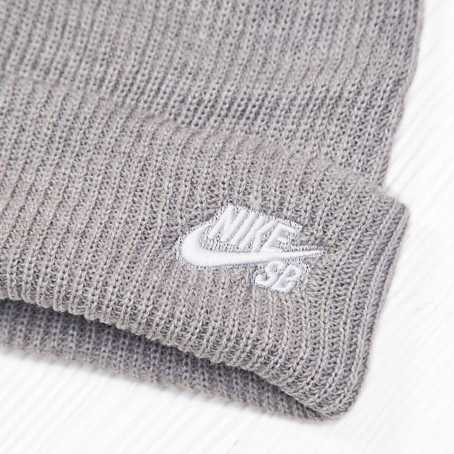 Шапка Nike SB FISHERMAN BEANIE Heather Grey - Фото 2