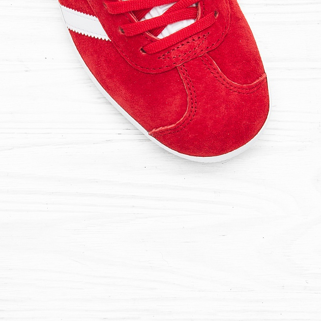 Кроссовки Adidas GAZELLE Power Red/Off White/Gold Met - Фото 4