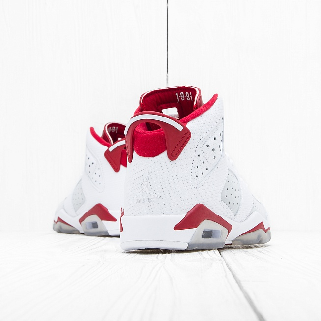 Кроссовки Jordan AIR JORDAN 6 RETRO (BG) White/Pure Platinum-Gym Red - Фото 2