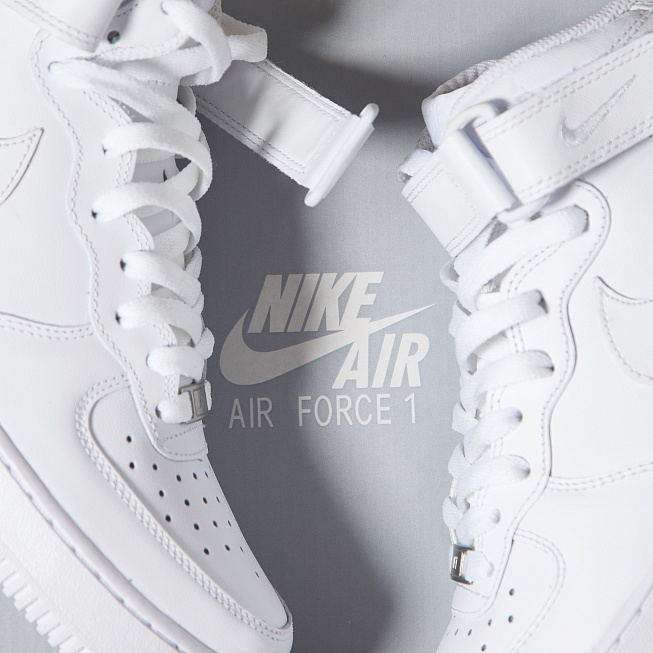 Кроссовки Nike AIR FORCE 1 MID 07 White/White - Фото 6