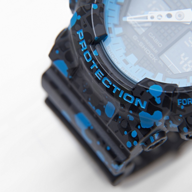 Часы Casio G-SHOCK x STASH (GA-100ST-2A) Black Blue Splatter - Фото 2