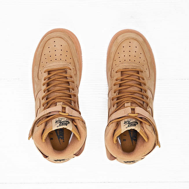 Кроссовки Nike AIR FORCE 1 HIGH WB (FLAX) (GS) Flax/Flax-Outdoor Green - Фото 5