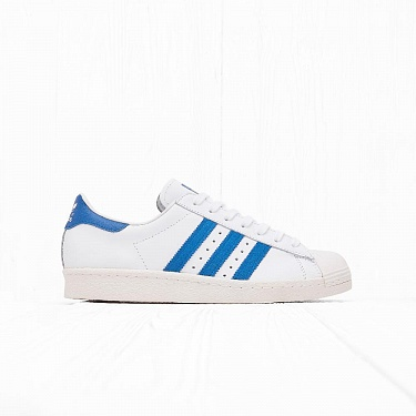 "Кроссовки Adidas SUPERSTAR 80s ""GUM OUTSOLE"" White/Dark Royal F12/Chalk White"