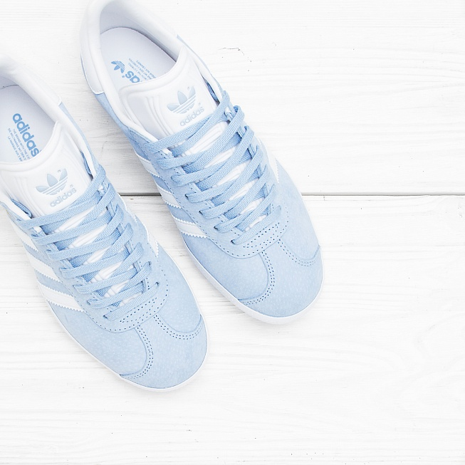 Кроссовки Adidas GAZELLE Clear Sky/Off White/Gold Met - Фото 3