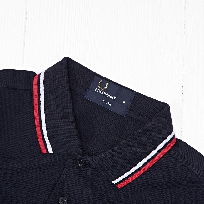 Поло Fred Perry TWIN TIPPED Navy/White - Фото 2