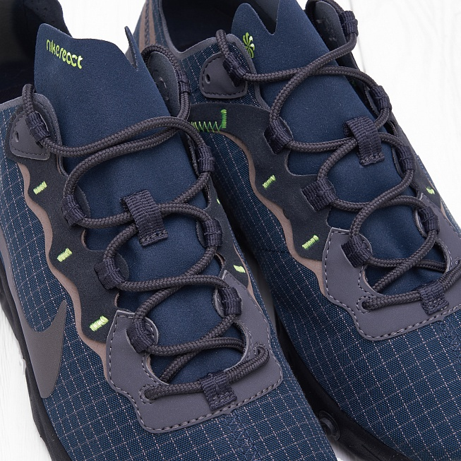 Кроссовки Nike REACT ELEMENT 55 Armory Navy/Metallic Dark Grey-Volt - Фото 4