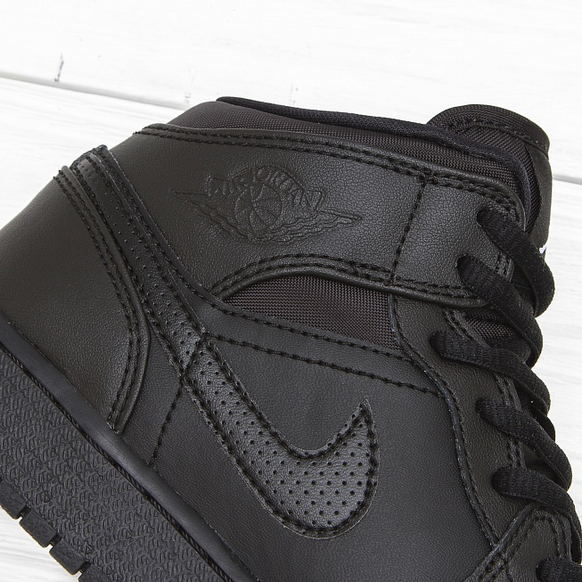 Кроссовки Jordan AIR JORDAN 1 MID (BG) Triple Black - Фото 4