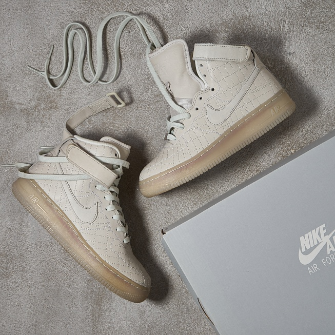 Кроссовки Nike AIR FORCE 1 HI FW QS Light Bone/Light Bone  - Фото 5