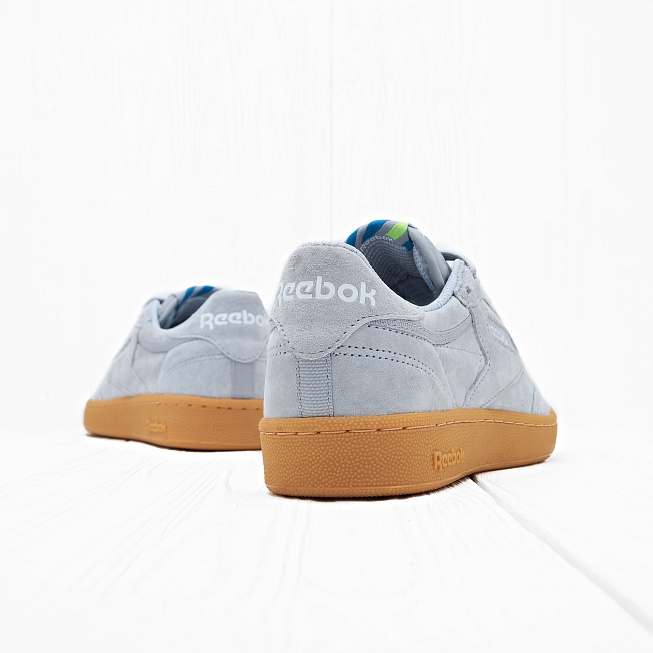Кроссовки Reebok CLUB C 85 INDOOR Baseball Grey/Instinct Blue/White/Solar Green - Фото 2