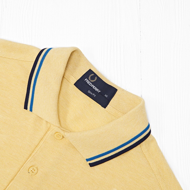 Поло Fred Perry SLIM FIT TWIN TIPPED Yellow - Фото 2