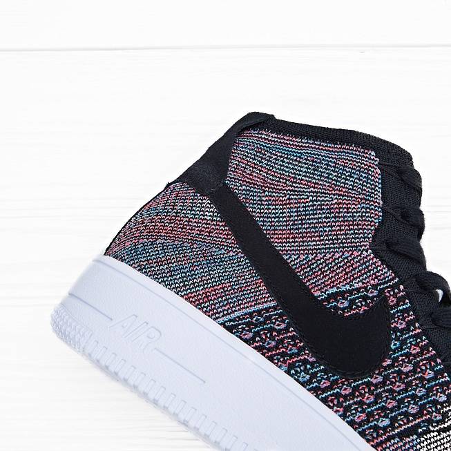 Кроссовки Nike AIR FORCE 1 ULTRA FLYKNIT MID Black/Pink-Blue - Фото 4
