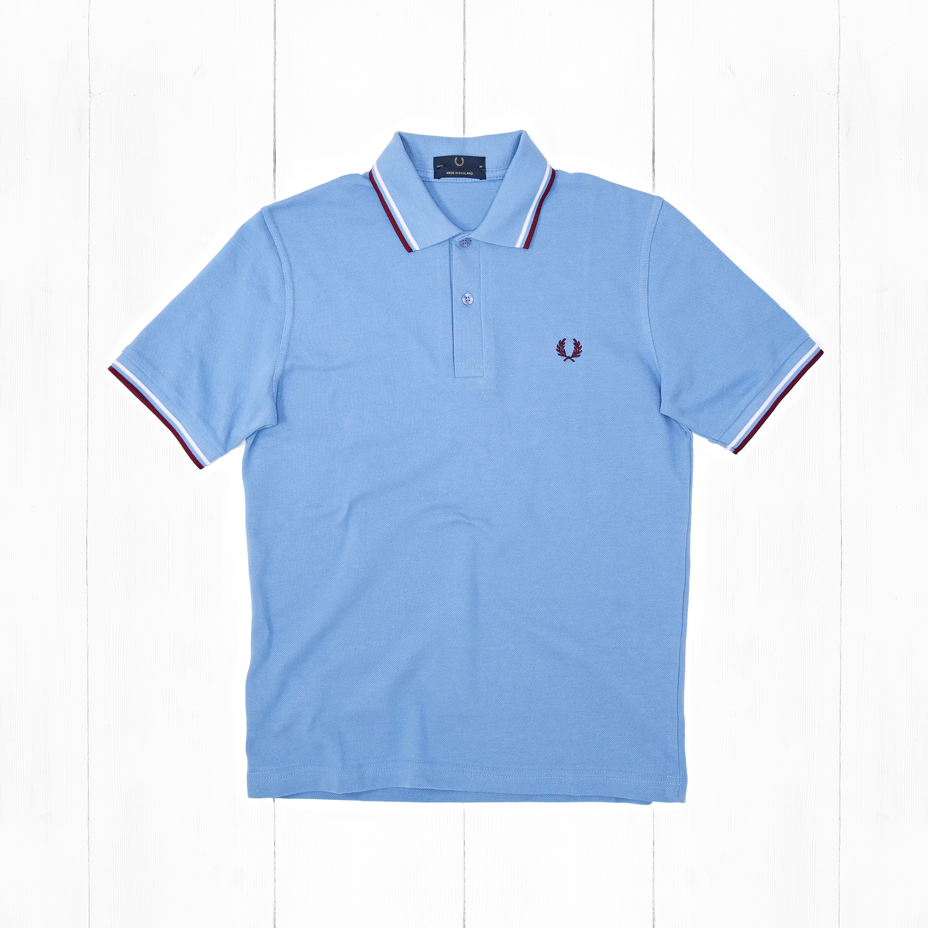 Поло Fred Perry TWIN TIPPED Mid Blue/White/Maroon