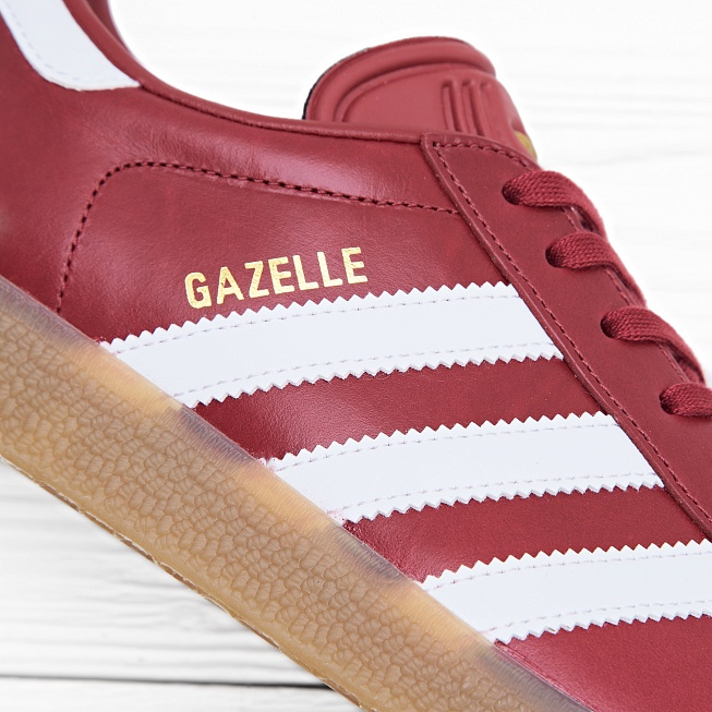 Кроссовки Adidas GAZELLE Mystery Red/White/Gold Metallic - Фото 4