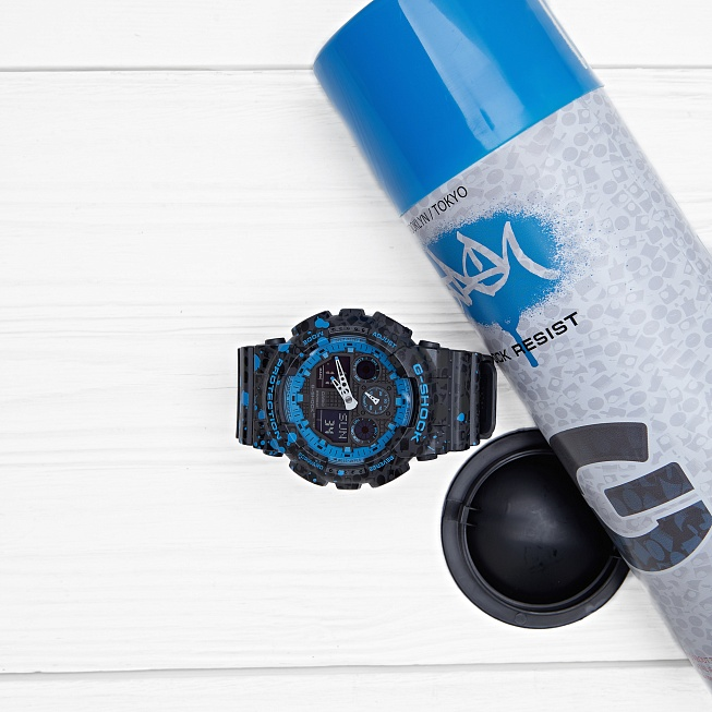 Часы Casio G-SHOCK x STASH (GA-100ST-2A) Black Blue Splatter - Фото 1
